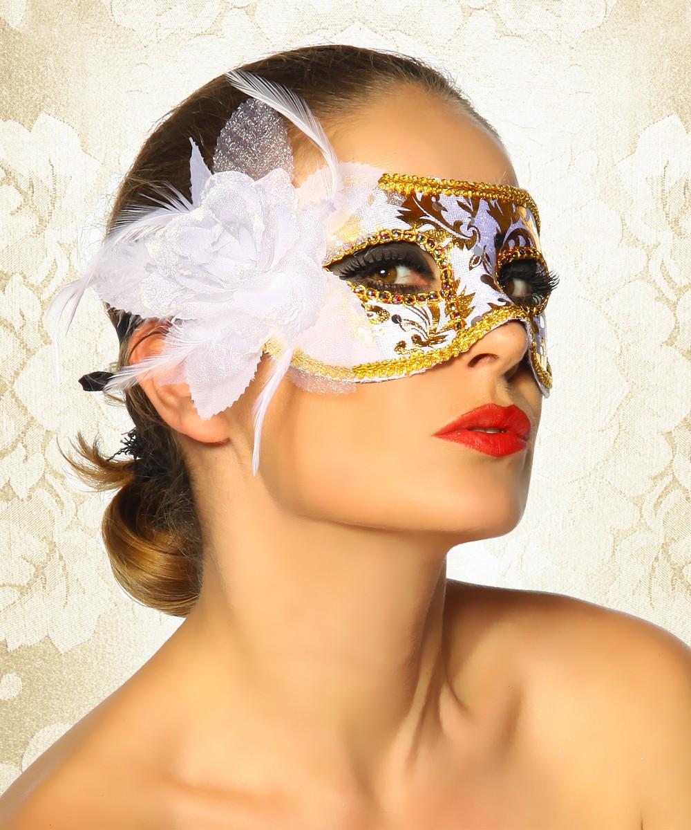 venezianische maske augenmaske venedig maskenball swingerclub wei gold ebay. Black Bedroom Furniture Sets. Home Design Ideas